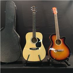 2 GUITARS: GK CUTAWAY ACOUSTIC/ELECTRIC GUITAR, AND GK ACOUSTIC GUITAR WITH HARD SHELL CASE