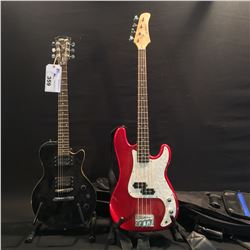 2 GUITARS: STAGG LES PAUL STUDIO COPY GUITAR, AND SLAMMER P-BASS STYLE BASS GUITAR WITH SOFT SHELL