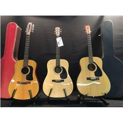 3 GUITARS: YAMAHA FG-335 II ACOUSTIC GUITAR WITH HARD SHEL CASE, WASHBURN 12 STRING ACOUSTIC GUITAR