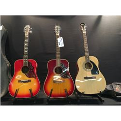 3 GUITARS: EPIPHONE AJ-100 ACOUSTIC GUITAR WITH SOFT SHELL CASE, 'FENDER' (PAINTED ON LOGO,