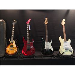 4 GUITARS: ROCKO LES PAUL COPY GUITAR WITH HARD SHELL CASE, IBANEZ GIO STRAT STYLE ELECTRIC GUITAR,
