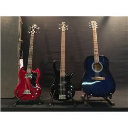 3 GUITARS: IBANEZ GSR200 ACTIVE 4 STRING BASS, EPIPHONE SG BASS WITH HARD SHELL CASE, AND NOVA