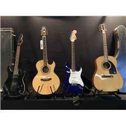 4 GUITARS: SQUIER STRAT WITH SOFT SHELL CASE, EPIPHONE MODEL PR-5E CUTAWAY ACOUSTIC/ELECTRIC