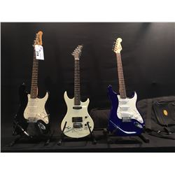 3 GUITARS: SQUIER STRAT WITH SOFT SHELL CASE, ROBSON STRAT STYLE GUITAR, AND PROFILE ELECTRIC