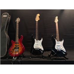 3 GUITARS: SQUIER STRAT, CRATE STRAT COPY WITH BRIDGE HUMBUCKER, AND WASHBURN BANTAM ELECTRIC