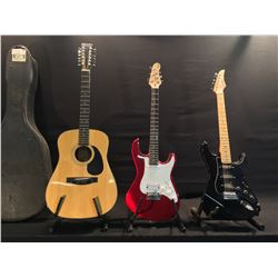 3 GUITARS: DEAN PLAYMATE STRAT COPY WITH VIBRATO BRIDGE, SERIES A STRAT COPY WITH VIBRATO BRIDGE,
