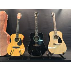 3 GUITARS: FENDER DG-11E ACOUSTIC/ELECTRIC GUITAR, FENDER FA-100 ACOUSTIC GUITAR, AND VANTAGE VF-5