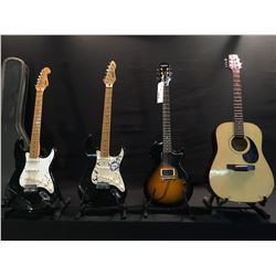 4 GUITARS: FENDER STRATOCASTER, MADE IN MEXICO WITH HARD SHELL CASE, EPIPHONE LES PAUL JUNIOR,