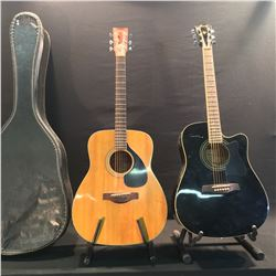 2 GUITARS: IBANEZ CUTAWAY ACOUSTIC/ELECTRIC GUITAR, AND YAMAHA FG-180 ACOUSTIC GUITAR WITH HARD
