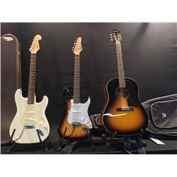 3 GUITARS: EPIPHONE 1963 EJ-45/VS ACOUSTIC GUITAR WITH SOFT SHELL CASE, SQUIER STRAT ELECTRIC