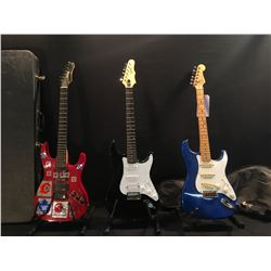 3 GUITARS: SQUIER STRAT, MADE IN JAPAN, EPIPHONE STRAT STYLE GUITAR WITH BRIDGE HUMBUCKER AND SOFT