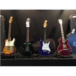 4 GUITARS: IBANEZ DOUBLE CUT LES PAUL STYLE ELECTRIC GUITAR, SQUIER MINI WITH SOFT SHELL CASE,