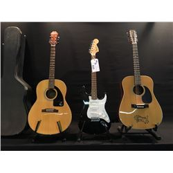 3 GUITARS: MANN 12 STRING ACOUSTIC GUITAR, SQUIER STRAT, AND EPIPHONE AJ 15 ACOUSTIC GUITAR WITH