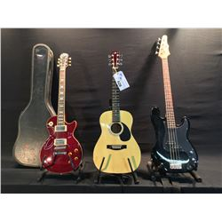3 GUITARS: EPIPHONE P-BASS STYLE BASS GUITAR, EPIPHONE LES PAUL, SOME DAMAGE MAY BE PRESENT