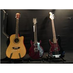 3 GUITARS: JAY TURSER VINTAGE SERIES LEFT HANDED P-BASS TYLE BASS GUITAR, WASHBURN D42SCE