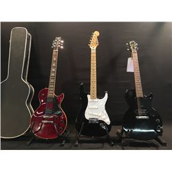 3 GUITARS: FENDER STRATOCASTER, MADE IN MEXICO, EPIPHONE LES PAUL JUNIOR, AND VANTAGE LES PAUL
