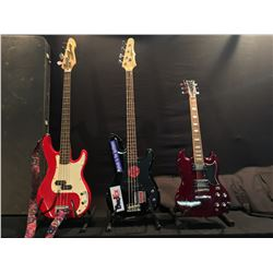 3 GUITARS: EPIPHONE P-BASS STYLE BASS GUITAR WITH SOFT SHELL CASE, BARRACUDA SG STYLE GUITAR WITH