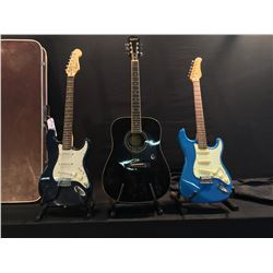 3 GUITARS: EPIPHONE DR 100 ACOUSTIC GUITAR WITH SOFT SHELL CASE, JAY TURSER VINTAGE SERIES STRAT