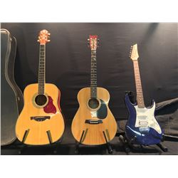 3 GUITARS: GOYA MODEL M50 ACOUSTIC GUITAR, IBANEZ STRAT STYLE ELECTRIC GUITAR WITH SOFT SHELL CASE,