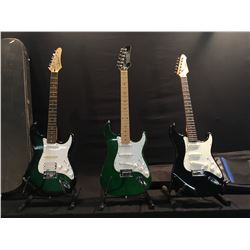 3 GUITARS: AUSTIN, SAMICK, AN D HAMER STRAT STYLE ELECTRIC GUITARS, LOT HAS ONE HARD SHELL CASE AND