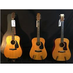 3 GUITARS: TRADITION MODEL W 68 ACOUSTIC GUITAR, WASHBURN MODEL D-60SW ACOUSTIC GUITAR, AND FENDER