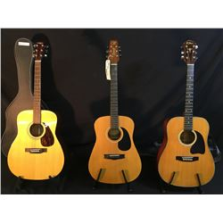 3 GUITARS: YAMAHA ETERNA EF-31 ACOUSTIC GUITAR WITH HARD SHELL CASE, VANTAGE ACOUSTIC GUITAR, AND