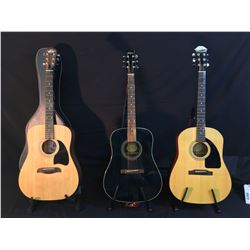 3 GUITARS: EPIPHONE MODEL AJ-10 ACOUSTIC GUITAR WITH SOFT SHELL CASE, WASHBURN MODEL D10MTBL