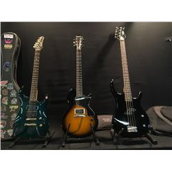 3 GUITARS: EPIPHONE EMBASSY 4 STRING BASS GUITAR WITH SOFT SHELL CASE, EPIPHONE LES PAUL JUNIOR,