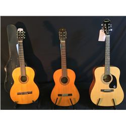 3 GUITARS: VINTAGE YAMAHA MODEL G-50A ACOUSTIC GUITAR, MADE BY NIPPON GAKKI CO. IN JAPAN, EPIPHONE