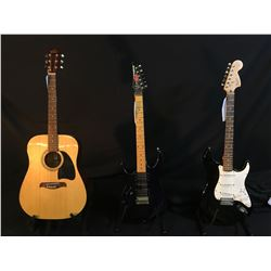 3 GUITARS: OSCAR SCHMIDT OG2N ACOUSTIC GUITAR, IBANEZ EX SERIES GUITAR, WITH SINGLE COIL AND TWO