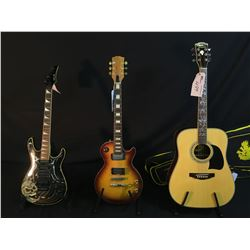 3 GUITARS: NO NAME LES PAUL COPY GUITAR, CONDITION OF ELECTRONICS UNKNOWN, SAMICK ELECTRIC GUITAR