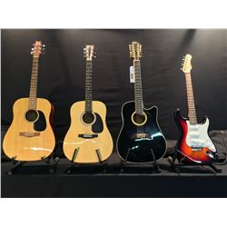 4 GUITARS: GARNET MODEL 069 ACOUSTIC GUITAR, ION STRAT STYLE ELECTRIC GUITAR WITH SOFT SHELL CASE,