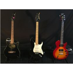 3 GUITARS: IBANEZ ATL SMALL BODY OFFSET CUTAWAY ACOUSTIC/ELECTRIC GUITAR WITH SOFT SHELL CASE,