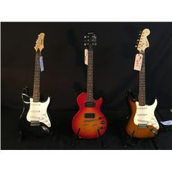 3 GUITARS: SLAMMER STRAT STYLE GUITAR, EPIPHONE LES PAUL SPECIAL II, MISSING TAILPIECE, AND SQUIER