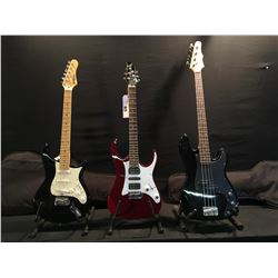 3 GUITARS: GFX ELECTRIC GUITAR WITH TWO HUMBUCKERS AND ONE SINGLE COIL PICKUP, VIBRATO BRIDGE AND