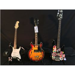 3 GUITARS: SQUIER STRAT WITH SOFT SHELL CASE, NO NAME MADE IN JAPAN HOLLOW BODY ELECTRIC GUITAR