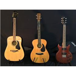3 GUITARS: IBANEZ DOUBLE CUT LES PAUL STYLE GUITAR WITH NATURAL WOOD FINISH AND SOFT SHELL CASE,