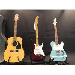 3 GUITARS: JASMINE BY TAKAMINE ES312 12 STRING ACOUSTIC GUITAR WITH HARD SHELL CASE, PEAVEY RAPTOR