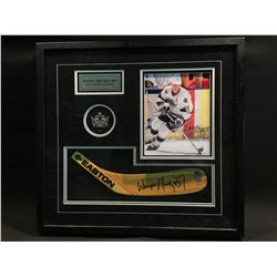 WAYNE GRETZKY AUTOGRAPHED COLLAGE, INCLUDING AUTOGRAPHED STICK BLADE AND PHOTO, L.A. KINGS HOCKEY