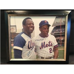 HANK AARON AND WILLIE MAYS AUTOGRAPHED, FRAMED PICTURE