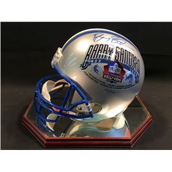 BARRY SANDERS AUTOGRAPHED PRO FOOTBALL HALL OF FAME REPLICA HELMET, WITH DISPLAY CASE