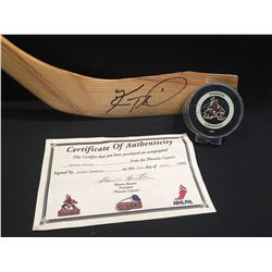 KEITH TKACHUK SIGNED, CHRISTIAN NORTHERN PRO HOCKEY STICK, AND HOCKEY PUCK WITH CERTIFICATE OF