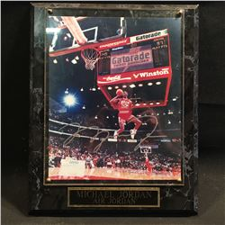 "MICHAEL JORDAN AUTOGRAPHED ""AIR JORDAN"" PLAQUE WITH PICTURE, WITH CERTIFICATE OF AUTHENTICITY"