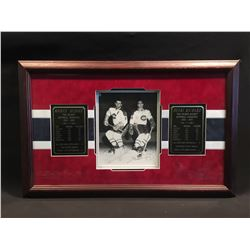 MAURICE AND HENRI RICHARD AUTOGRAPHED AND FRAMED PICTURE WITH ALL TIME STATS PLAQUES, COMES WITH