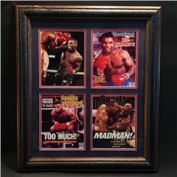 MIKE TYSON, FRAMED AND AUTOGRAPHED COLLECTION OF THREE SPORTS ILLUSTRATED COVERS AND FIGHT PICTURE