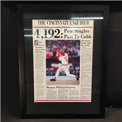 PETE ROSE FRAMED AND AUTOGRAPHED CINCINNATI ENQUIRER NEWSPAPER POSTER WITH FRONT PAGE FROM