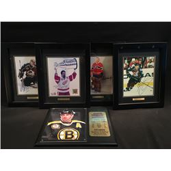 5 AUTOGRAPHED PICTURES: CAM NEELY PLAQUE WITH STATS AND CERTIFICATE OF AUTHENTICITY, AS WELL AS