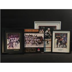 4 VANCOUVER CANUCKS AND TEAM CANADA PICTURES: ROBERTO LUONGO AND MARTIN BRODEUR AUTOGRAPHED 2010