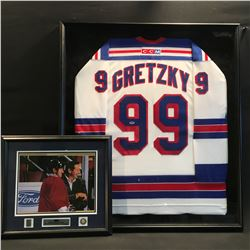 WAYNE GRETZKY AUTOGRAPHED, AUTHENTIC NEW YORK RANGERS JERSEY, FRAMED, WITH TWO SEPARATE