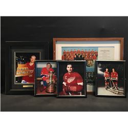 5 PIECES: STEVE YZERMAN AUTOGRAPHED PICTURED HOLDING CONN SMYTHE TROPHY, MAURICE RICHARD